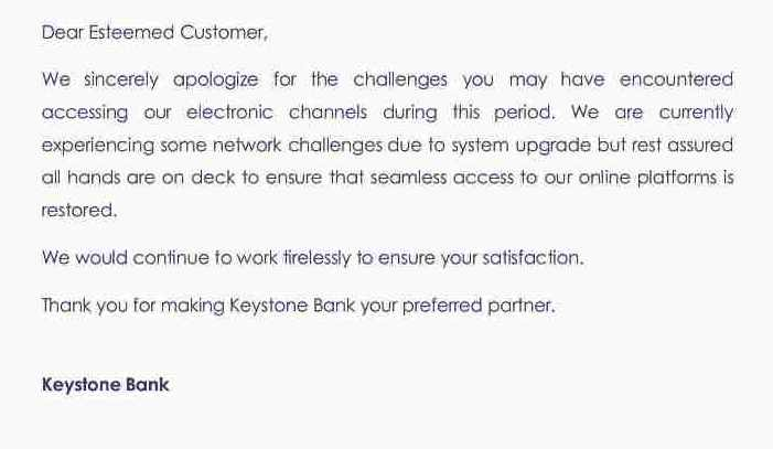 Keystone Bank Nigeria is laughable with excuse of system upgrade during Christmas