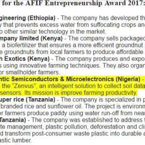 Nigeria's FASMICRO Makes the final of Africa Finance & Investment Forum (AFIF) Entrepreneurship Award 2017