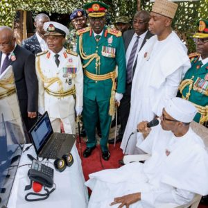 See Nigerian President speaking with soldiers in Sambisa forest via Nigeria's NigComSat-1R satellite [Photo]
