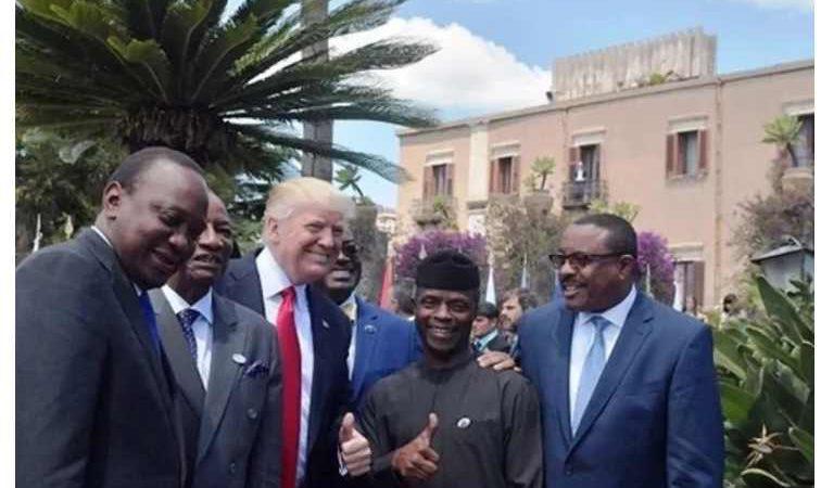 Donald Trump Likes Yemi Osinbajo, Does Synchronized Thumbs Up With Acting President Yemi Osinbajo {Photos)