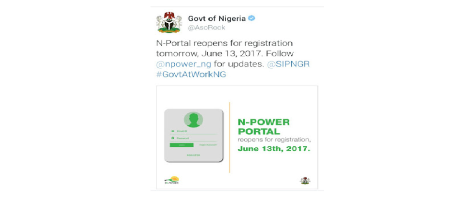 Nigerian Government Opens N-Power Portal For 2017 Fresh Application