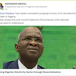 A Nigerian 2019 Presidential Aspirant Commits To Implement Our Electricity Reform Proposal