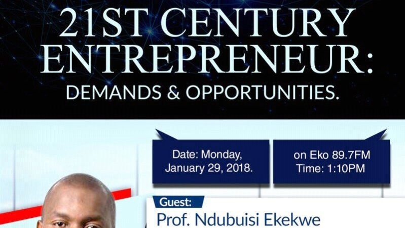 Join me at Eko89.7fm Monday Jan 29th @ 1.10pm on 21st Century Entrepreneur