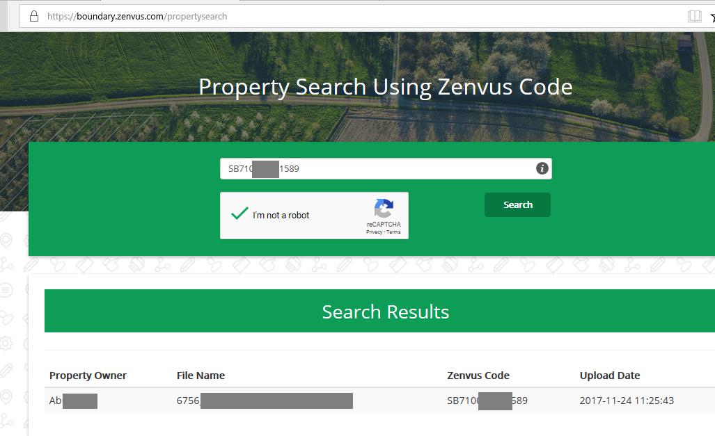 Zenvus public search result