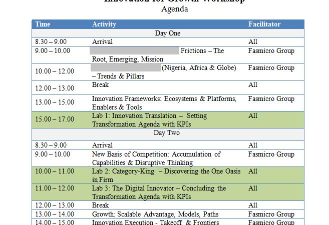 Agenda for Lagos Innovation Workshop