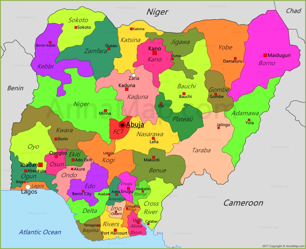 Map of Nigeria (source: World Map)