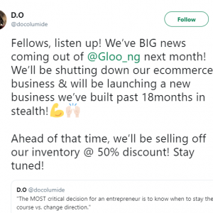 Nigeria's Ecommerce Startup, Gloo .ng, Fails