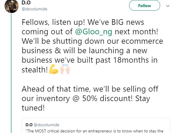 Nigeria's Ecommerce Startup, Gloo .ng, Fails