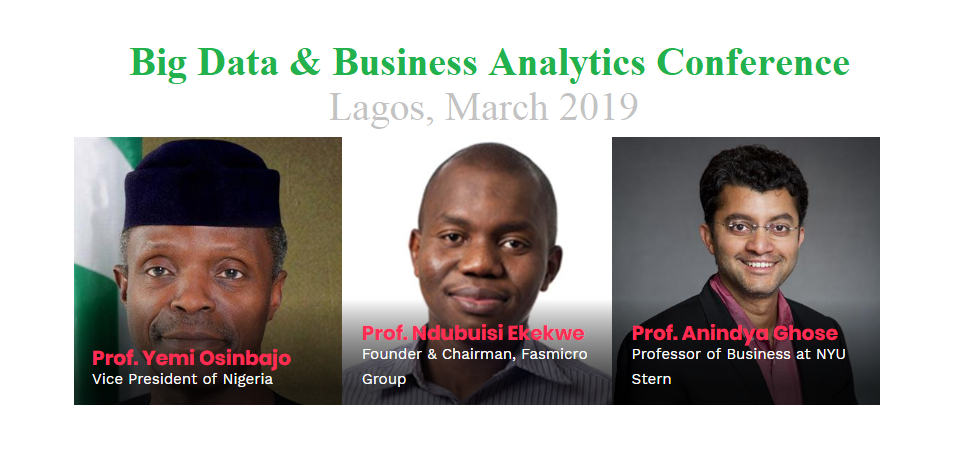 Join me with Vice President Osinbajo as I Keynote Big Data Conference, Lagos March 2019