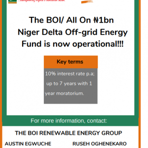 [Apply] $3.2 Million BOI and All On Off Grid Energy Debt Fund