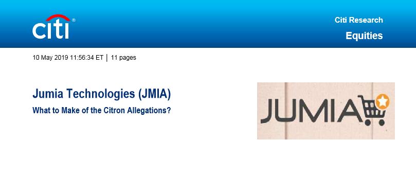 Citi Reacts on Jumia's Citron Allegations [Download Citi Report]
