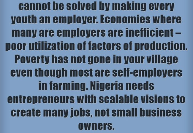 Nigeria's Youth Unemployment Problem – Peril of Making Every Youth An EMPLOYER