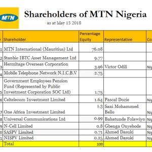 11 Largest Shareholders of MTN Nigeria
